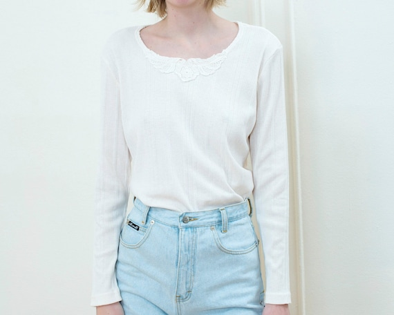 90s off white cotton ribbed tshirt | ivory lace co
