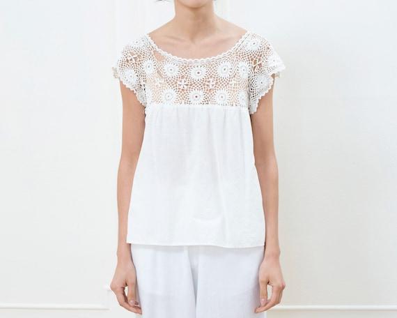 vintage edwardian white lace cotton blouse | croch