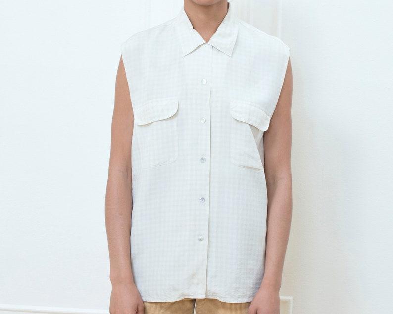 ivory printed silk shirt cream checker print sleeveless silk button down 90s white silk gingham blouse medium check silk shirt