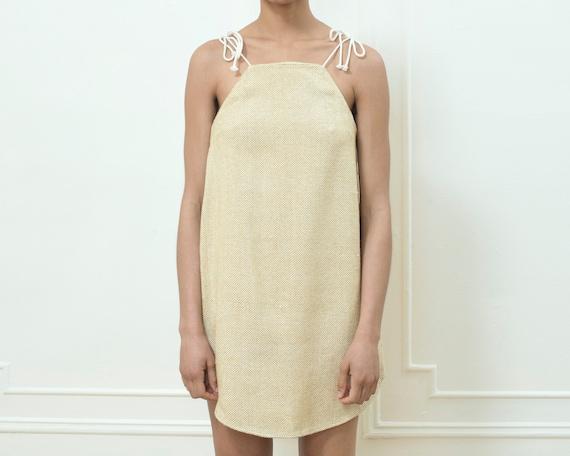 80s yellow silk mini dress | yellow tie strap sund