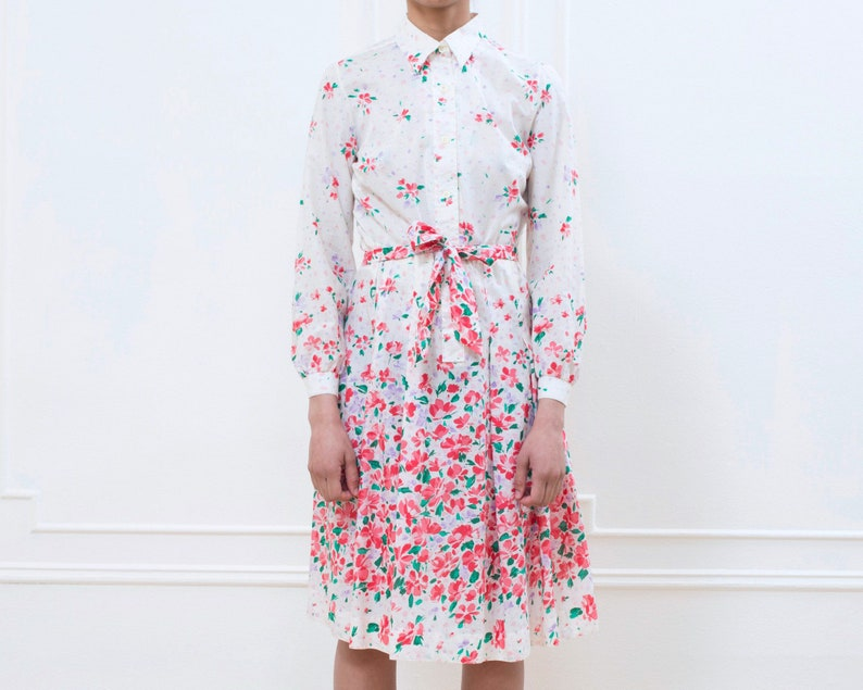 b12171c92e66 70s pink floral lanvin midi dress medium flower print shirt
