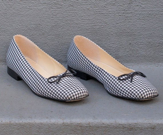 and size flats vintage flats 90s ballet 1990s shoes preppy flat black gingham bow ballet 6 flats white tie ballet checkered HYFtqBwFr