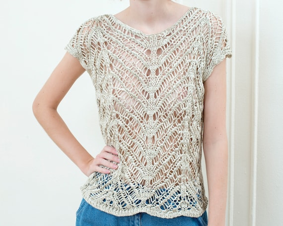 90s tan metallic crochet sweater | beige crochet t