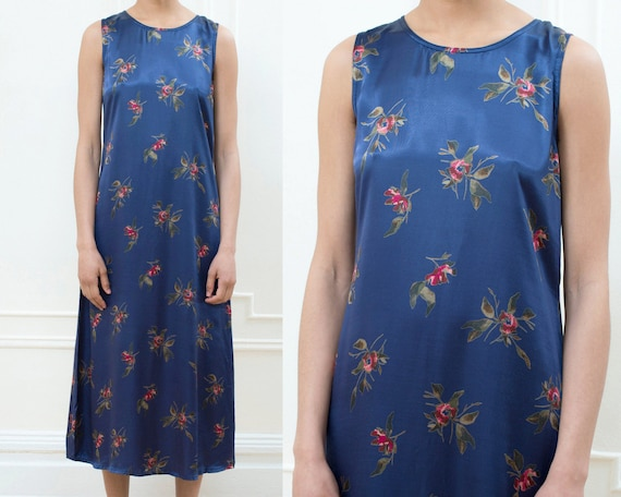 90s gap navy floral slip maxi dress small | silky