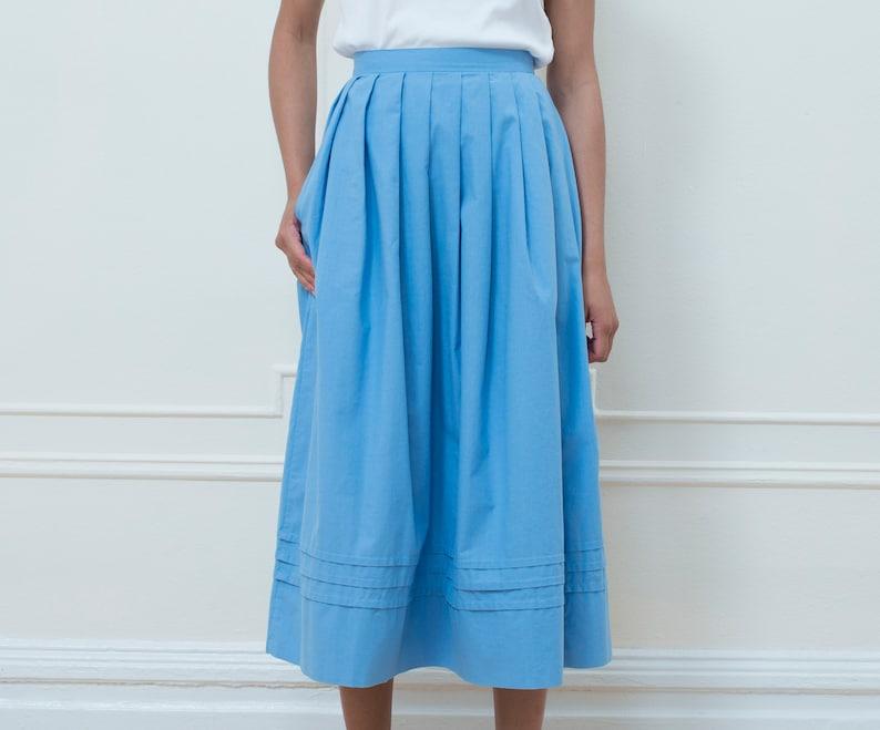 91d3b49765c9 80s laura ashley blue skirt small midi skirt baby blue | Etsy