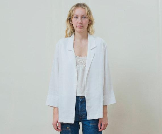 80s white power suit blazer large | minimalist bla