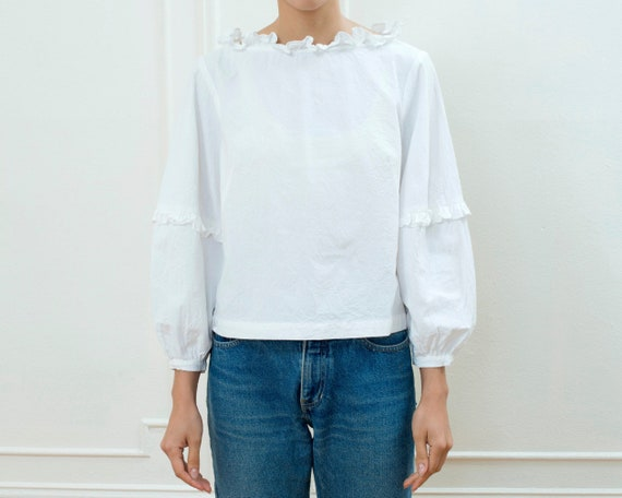 80s white cotton puff sleeve ruffle blouse | ballo