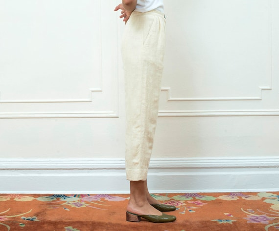 pants pants white 1970s waist high trousers vintage white valentino petite wool ivory cream trousers 70s off cropped small EaP16Wq