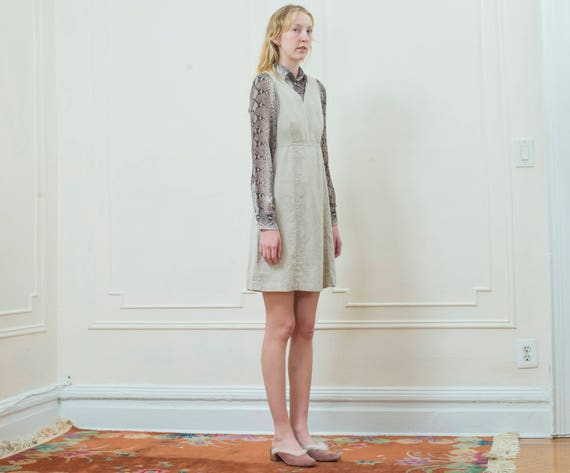 mini klein 4 cotton dress a cotton small linen dress calvin ck 90s dress 1990s vintage dress tan line oatmeal beige linen T8q4xfw0