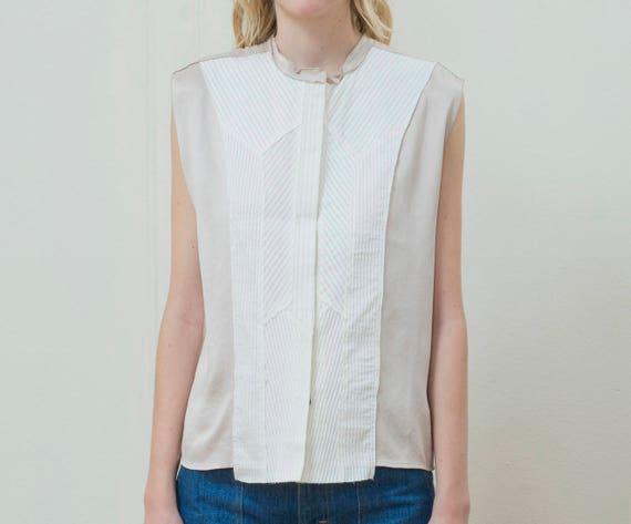 pleated shirt bib bottega 1990s pleat top blouse small white nude vintage 90s silky shirt beige contrast ivory tuxedo veneta YZ7Aq