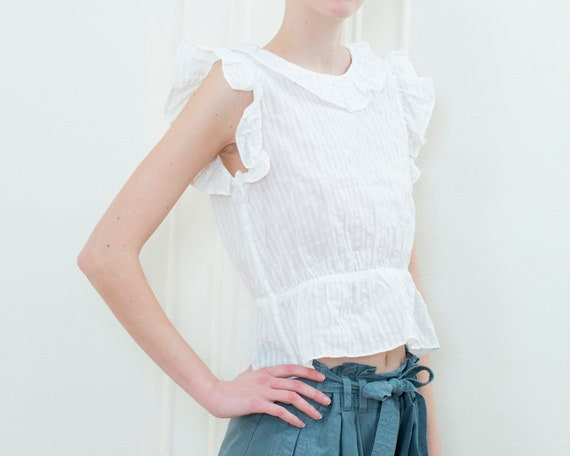 90s white striped sheer cotton ruffle blouse | sm… - image 4
