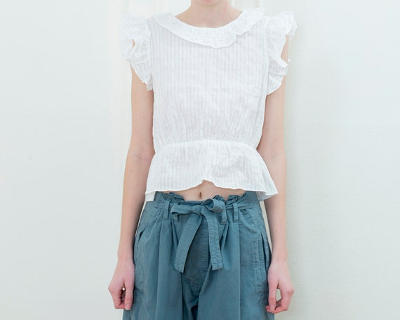 90s white striped sheer cotton ruffle blouse | sm… - image 2
