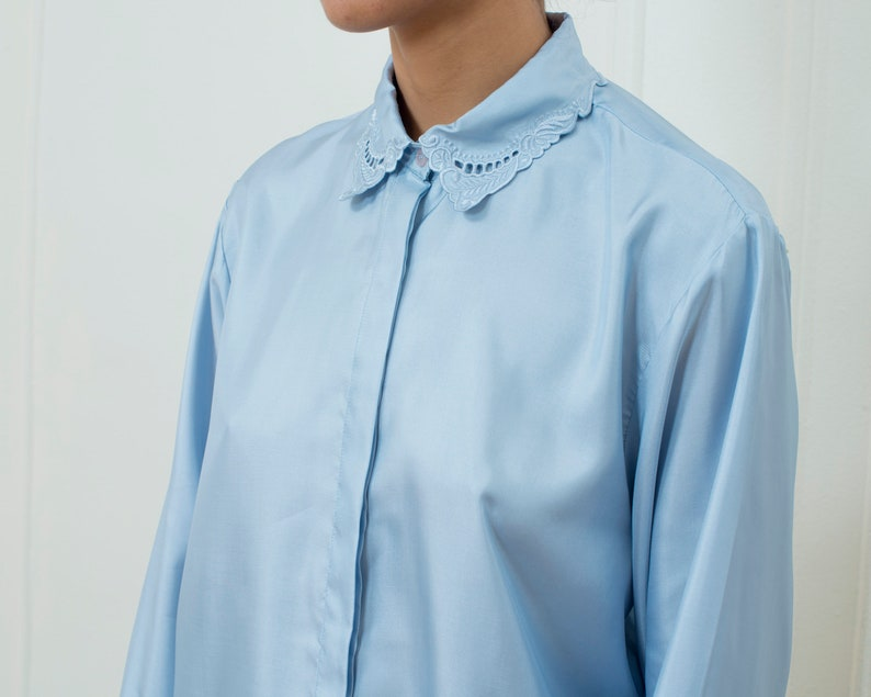 d7cd19fa 80s light blue blouse large lace collar button down blouse | Etsy