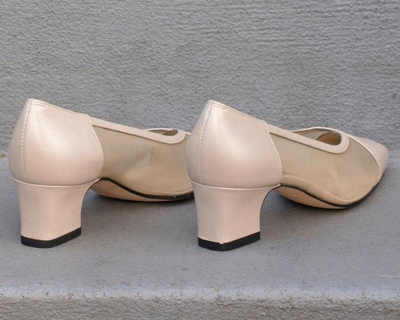 d51e229e98130 90s beige leather van eli pumps 6.5   mesh cut out block heel shoes    minimal taupe low heel pumps   minimalist sheer wedding shoes