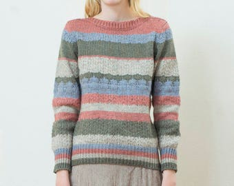 vintage pink striped sweater | rainbow stripe wool blend boatneck knit | pastel gray sailor sweater | breton stripe | medium | 1970s | 70s
