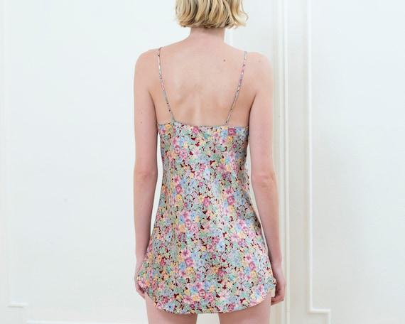 90s grunge rainbow floral mini slip dress - image 6