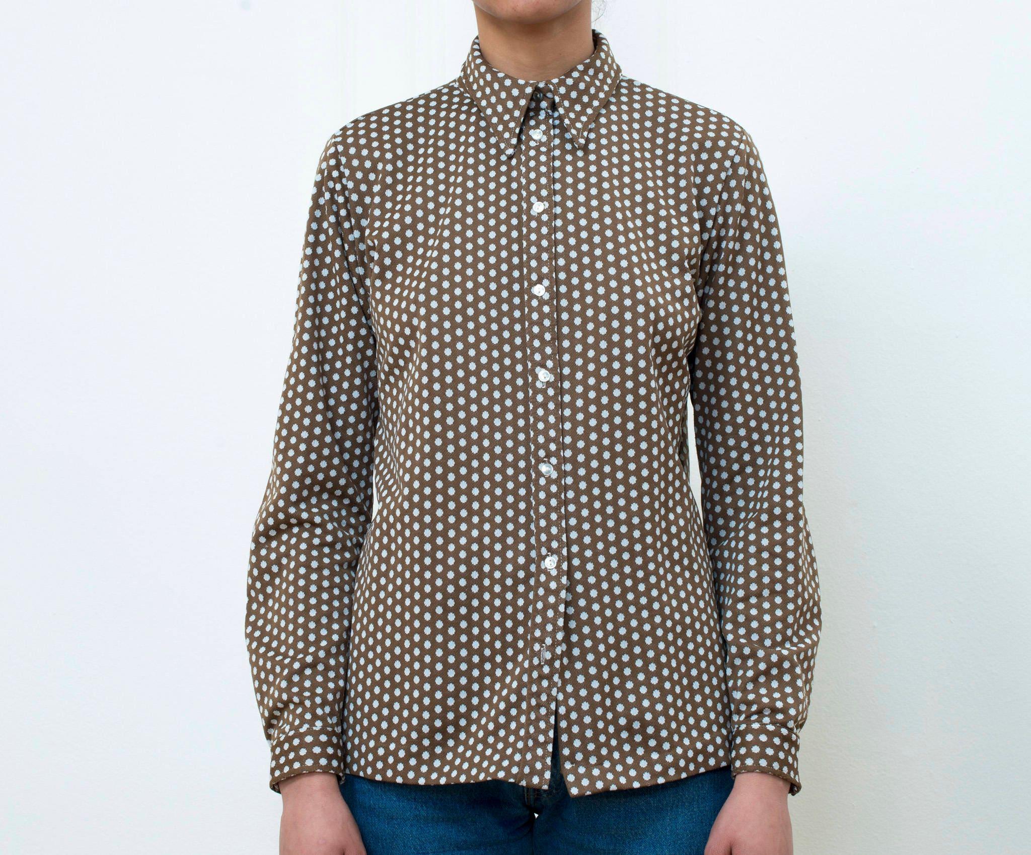 8602015883fc 70s brown printed blouse polka dot button down shirt