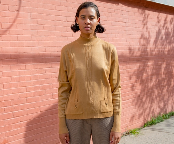 vintage Ribbed 60s L Cable Knit Large Long Bronze Sweater with Gold 1960s Pull Neck Tan Mock Pockets Sleeve Rib Over rxarPqH