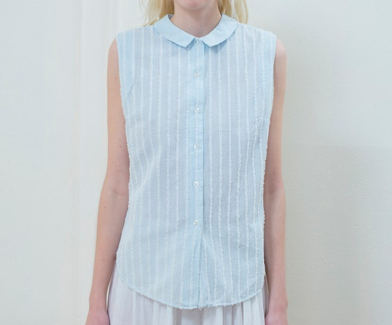 blue striped blouse | 50s sleeveless button down s