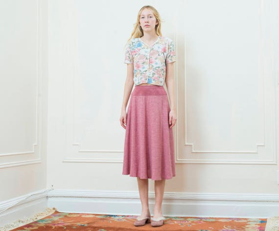 mauve 70s pink knit faux skirt 1970s vintage skirt pink suede small skirt a line skirt swing knit skirt pink high pink waist w1Xq0X