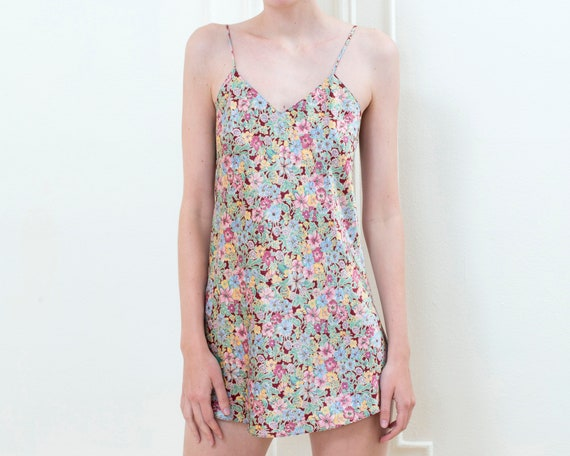 90s grunge rainbow floral mini slip dress