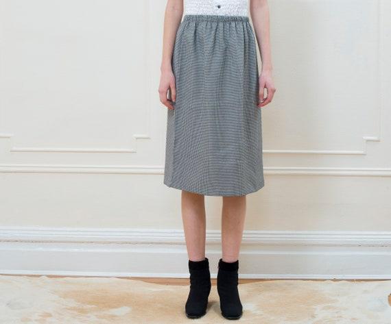 Black Gingham Slit 70s 1970s High Mini M White Midi Back Elastic vintage Skirt Large Waist AqtwCRCd