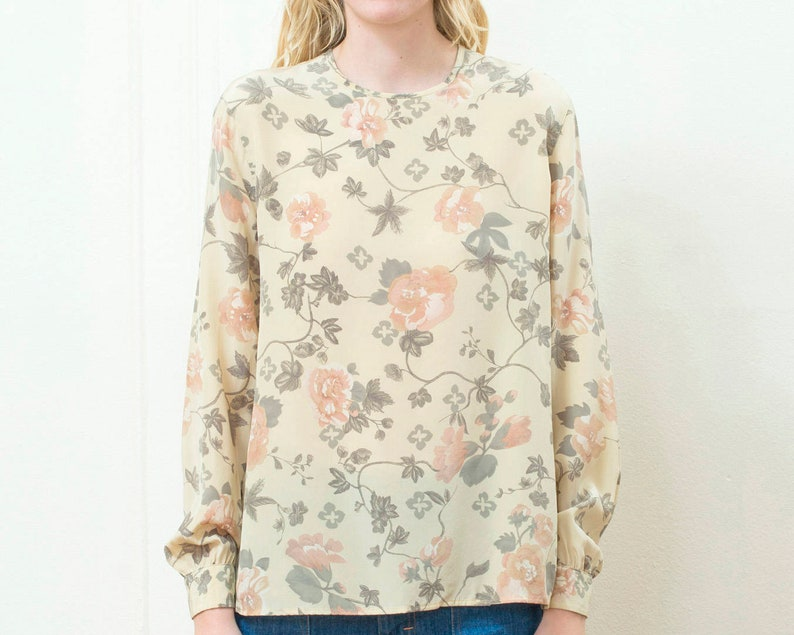 0318557539703 80s giorgio armani nude silk floral blouse medium minimal