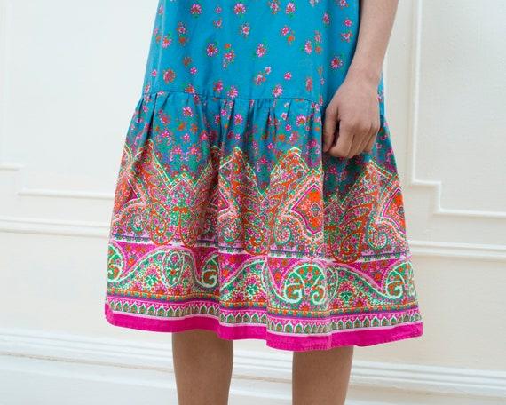 blue pink 70s pink ruffle blue large paisley sun dress dress blue print 1970s floral dress dress vintage flower hippie boho wf0txqHg