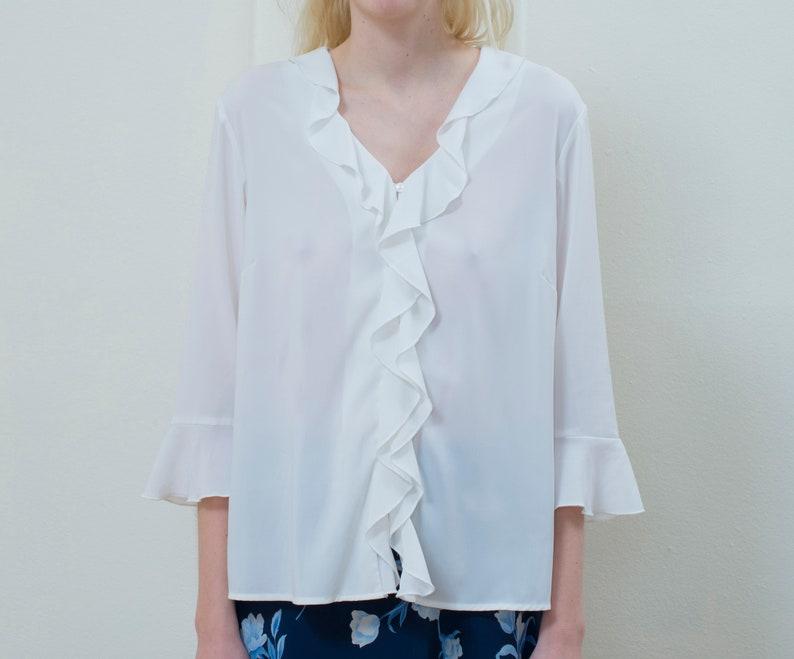 03cee4265ae White sheer ruffle blouse medium 80s white poet blouse