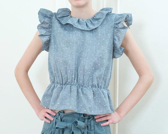80s blue chambray ruffle blouse | swiss dot ruffle