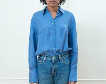 90s blue silk blouse large   pale blue silk button down shirt   minimalist light blue silk blouse   minimal ice blue collared office shirt
