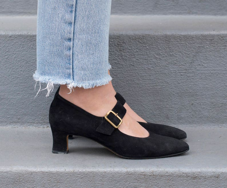 79ed77b91765 Black suede mary jane pumps cole haan black high heels