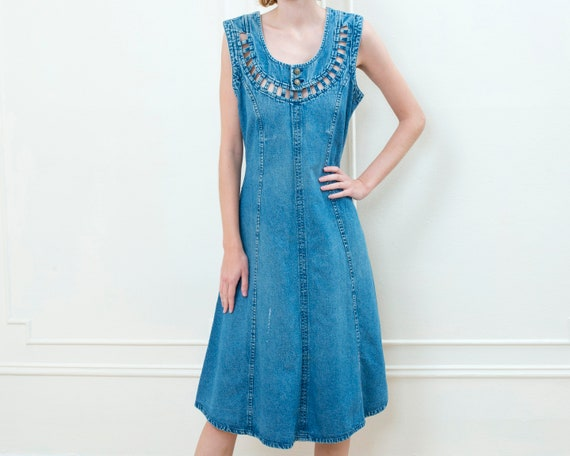 80s blue denim maxi dress | long jean dress | prep