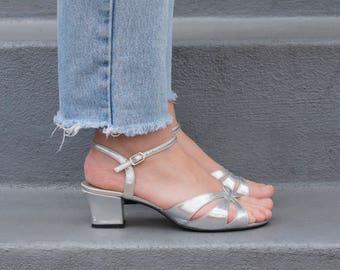 vintage silver sandals 7   silver strappy sandals 37   silver tango sandal   metallic low heel cut out sandals   block heel sandal 1980s 80s