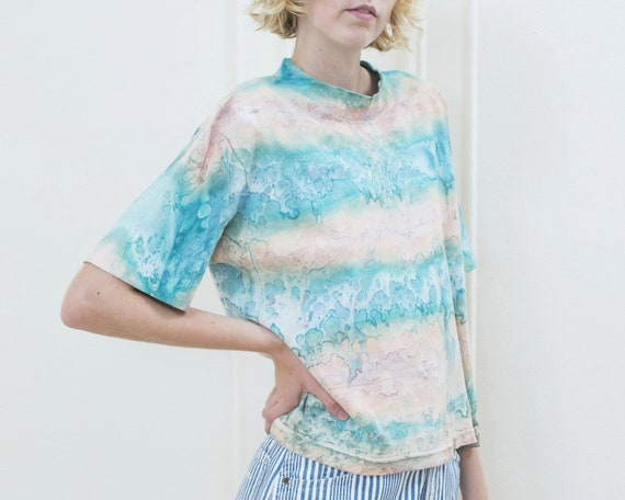 80s tie dye tshirt | pink blue tie dye striped ts… - image 3