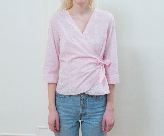 pink wrap blouse | cotton eyelet shirt | pink wrap