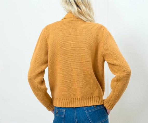 yellow wool cardigan | shawl collar sweater | mustard yellow knit button down | winter cardigan | l | large | 1970s | 70s