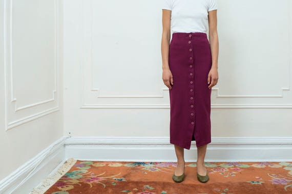 fitted wiggle waist skirt vintage 80s high 1980s pencil purple skirt s wine knit small skirt down button skirt burgundy knit w6z48wAq