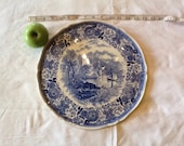 Vintage French large serving plate, Villeroy and Boch, blue and white French vintage 13 inch plate. Serving plate. Country scene plate.