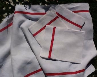 3 French vintage tea towels. Linen tea towels. Vintage teatowels. Red and white striped tea towels. French antique tea towels. Old linen.