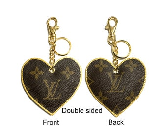 """Handmade """"Heartshape"""" keychain Double sided made from Upcycled Louis Vuitton canvas...100% Authentic!"""