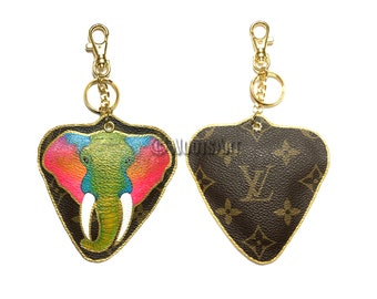 """Handmade handpainted """"Elephant"""" Keychain Charm made from Upcycled Louis Vuitton canvas...100% Authentic!"""