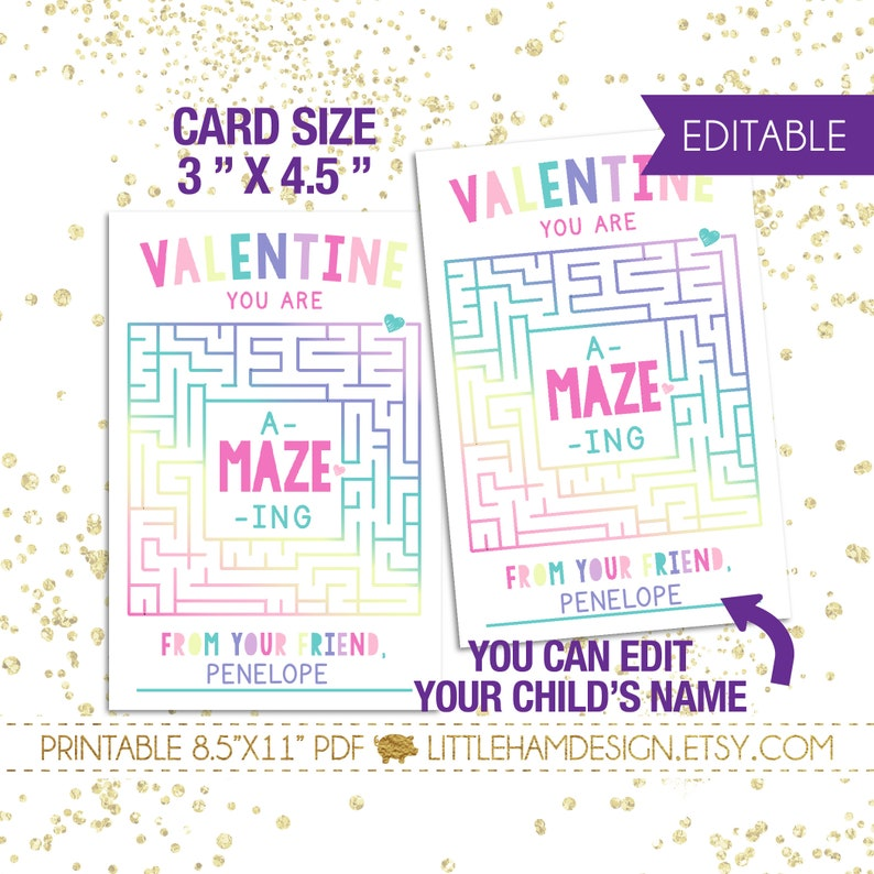 Editable A Maze Ing Valentine S Card Printable Etsy