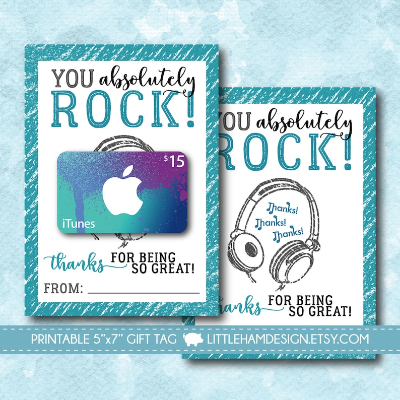 photo about Printable Itunes Gift Card identify Printable On your own Rock iTunes Thank Your self Card // Tunes Reward Card Holder // Thank Oneself Present Tag // Trainer Good friend Reward // Fast Obtain 5x7