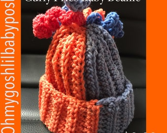 Curly Fries Baby Beanie; 0-6 months