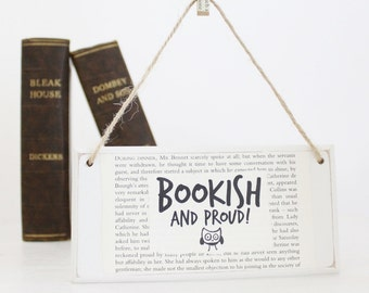 Book lover gift ~ Original Wooden Door Sign ~ Bookish and Proud ~ Reader Gift ~ Literary Gifts ~ Bookish Gift ~ Librarian Gifts ~ Booklovers