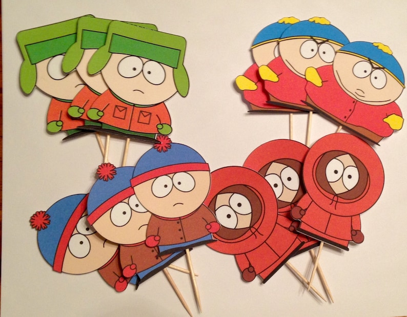 South Park Inspired Cupcake Toppers Birthday