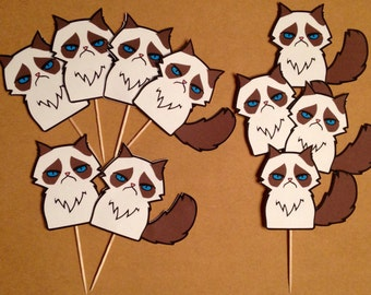 Grumpy Cat Inspired Cupcake Toppers, Grumpy Cat decorations, Grumpy Cat themed party
