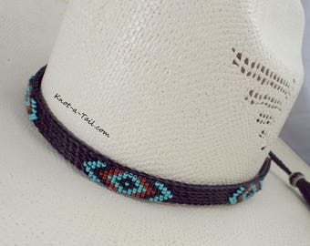 89241f28fc521 Native American design beaded horsehair hat band Amazing colors beaded  western horsehair hat band