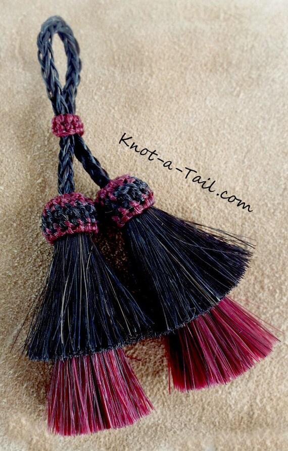 Horsehair tassel double tassel Jewelry tassel, WHITE//BLACK horsehair tassel